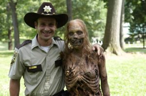 a sherriff and a zombie