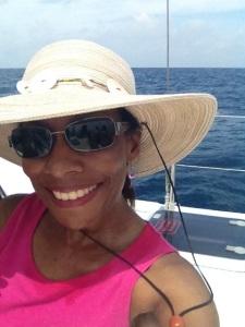 Me on a catamaran