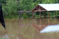 flooded picnic shelter