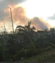 Sugar cane field fire