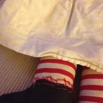 Raggedy Ann doll sewn together foot