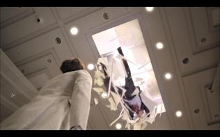 dead body falls through ceiling