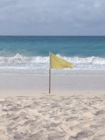 Yellow flag beach warning
