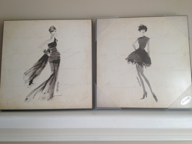 Two pictures of fashion sketches