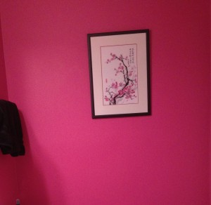 Hot pink bathroom wall
