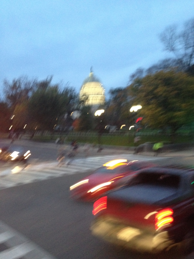 Blurry image of Washington DC and the Capitol