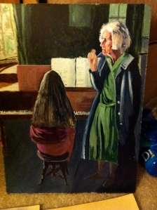 Oil painting of a girl playing piano at music lesson