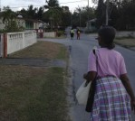 walking through a neighborhood in Barbados