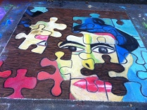 chalk drawing of jigsaw puzzle