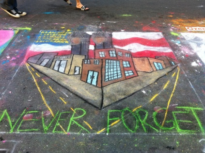 chalk art of Twin Towers in New York