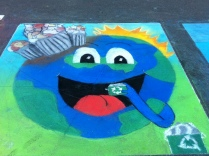 chalk art of happy earth enjoying recycling