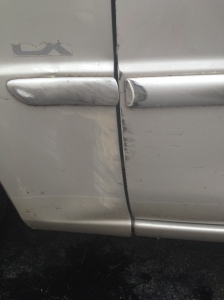 smashed car door
