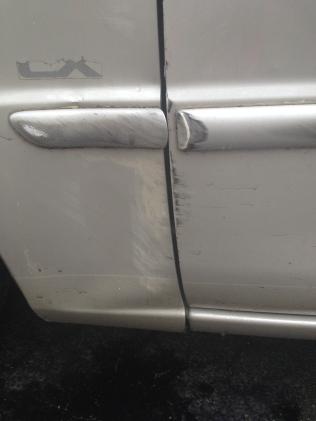 smashed car door