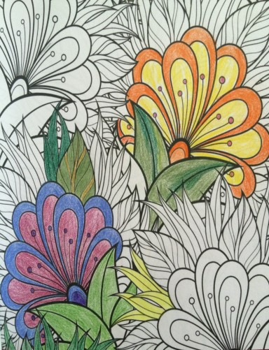 floral coloring book page