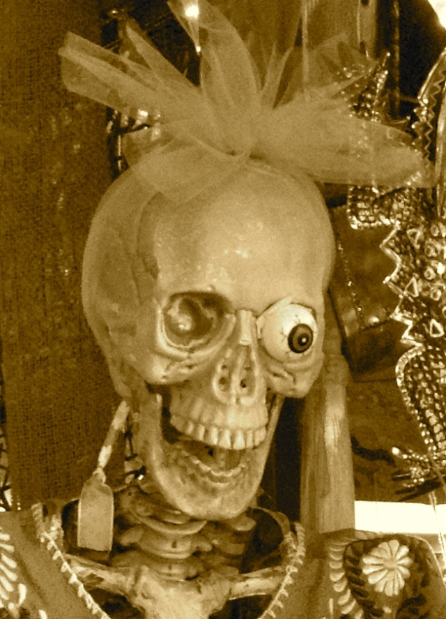 Lady skeleton at Mexican restaurant