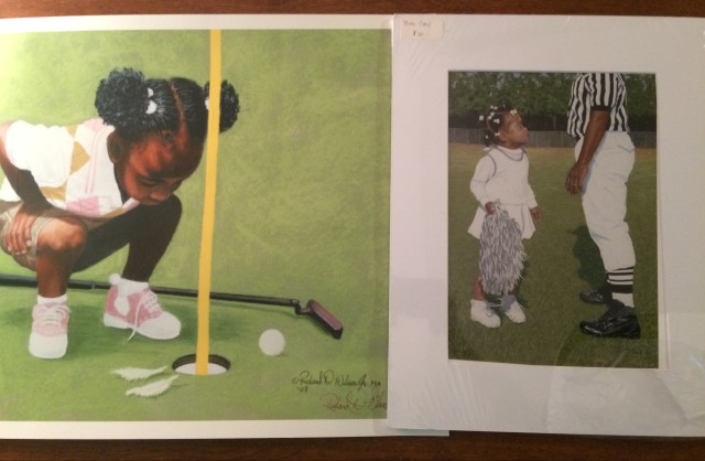 art prints of girls playing golf and cheerleading