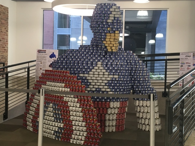 Captain America made of cans