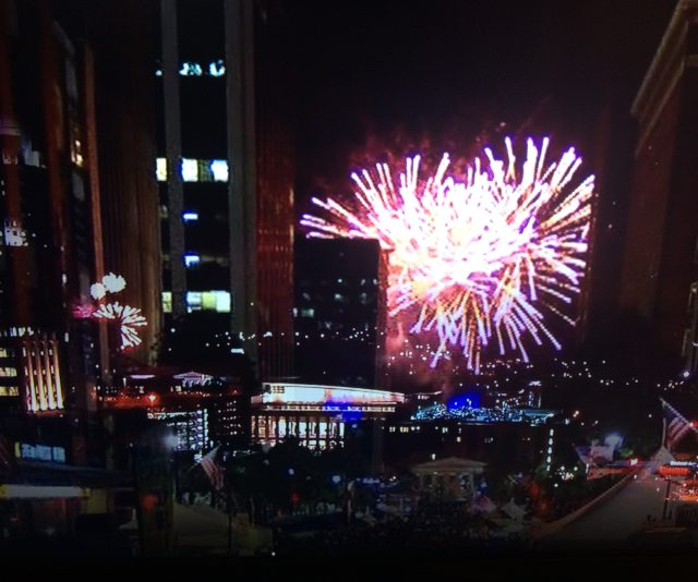 Fireworks explode over the Raleigh