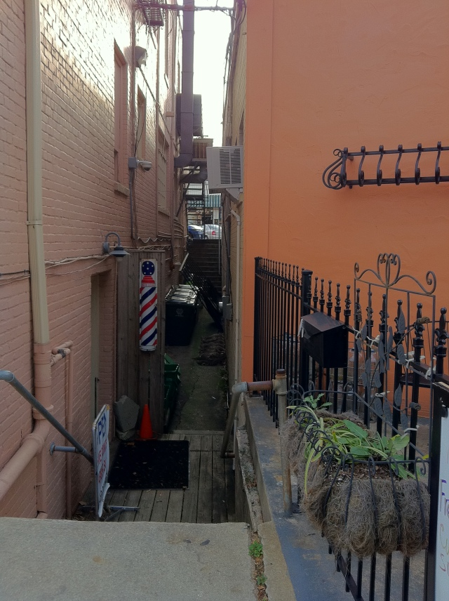 alley between restaurants
