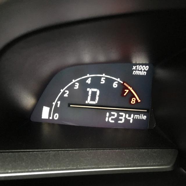 odometer at 1234 miles