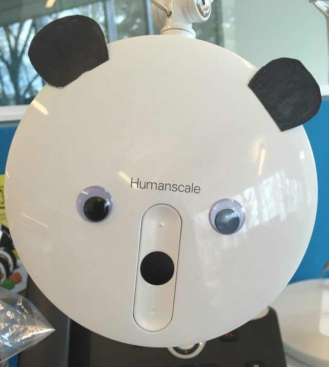 desk lamp decorated to look like a panda