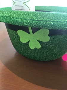 St Patrick's Day hat with four-leaf clover