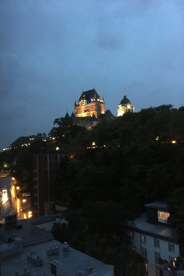 Fairmont Le Château Frontenac high on a hill in Québec City.
