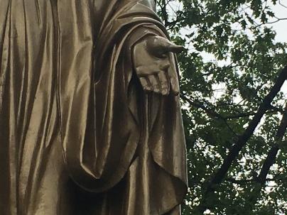left hand of statue