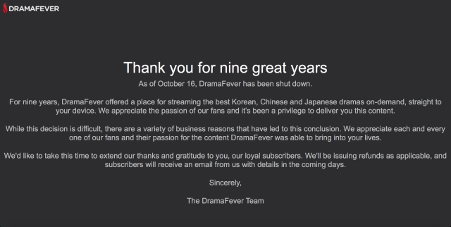 Notice from DramaFever