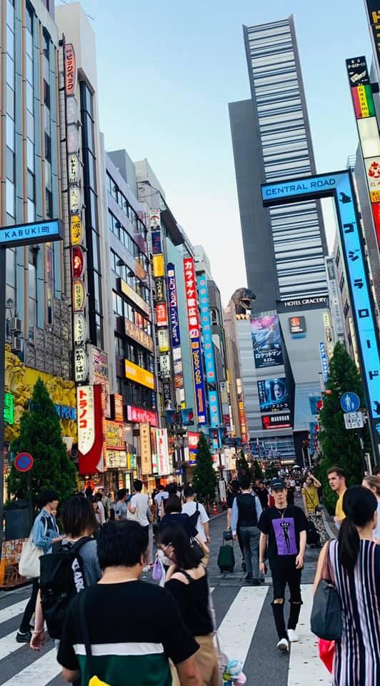 Approaching Godzilla in Shinjuku.