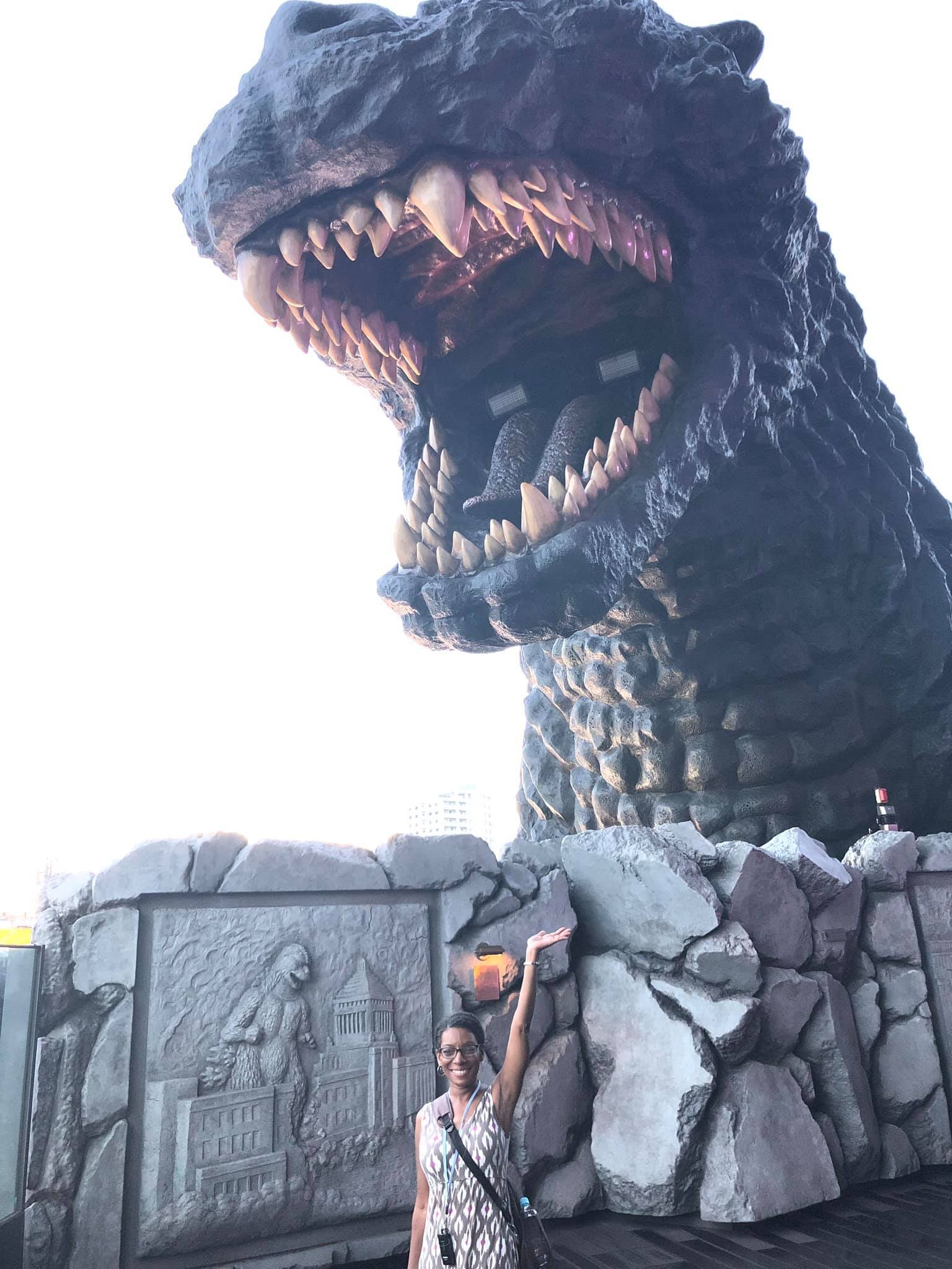 Me standing directly below the Godzilla head.