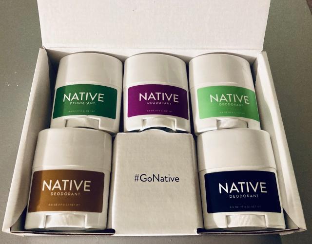five travel sized Native deodorant.