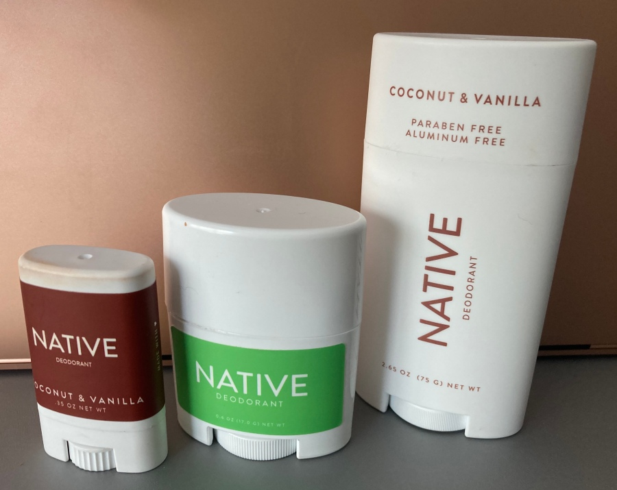 three sizes of Native Deodorant.